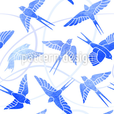Swallows Flight Seamless Pattern
