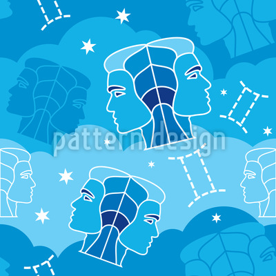 Born In Gemini Sign Seamless Vector Pattern