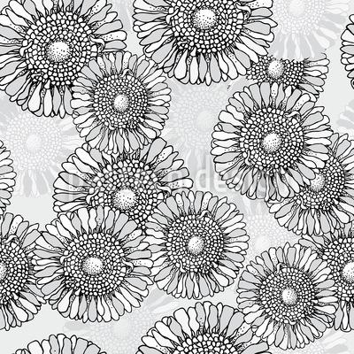 Sonnenblumen Grau Rapportmuster