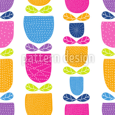 Stitched Tulips Seamless Vector Pattern Design