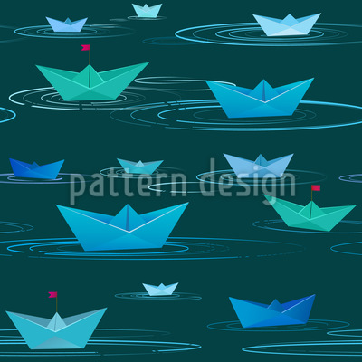 Paper Boats Seamless Vector Pattern Design