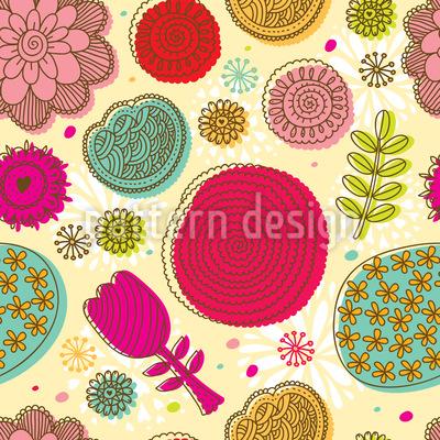 Gekritzel Blumen Nahtloses Vektormuster