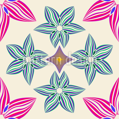 Symmetrie Und Blumen Nahtloses Vektormuster