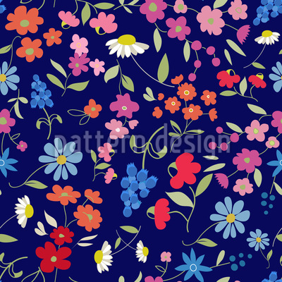 Flower Mix Seamless Vector Pattern Design