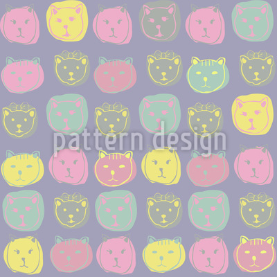 Cat Portrait Seamless Pattern