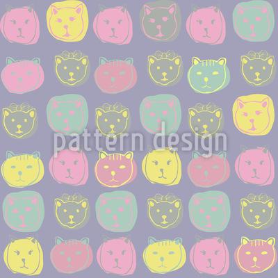 Katzen Portrait Nahtloses Muster
