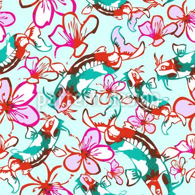 Koi im Blumenmeer Rapportmuster