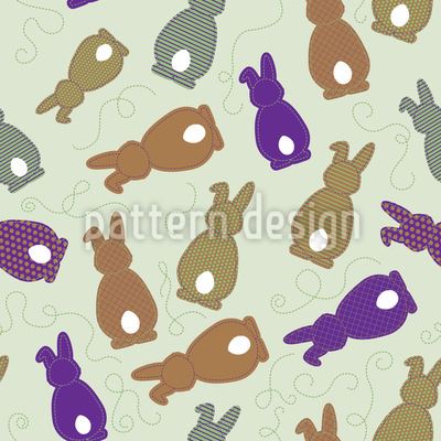 Bouncing Bunnies Purple Seamless Vector Pattern