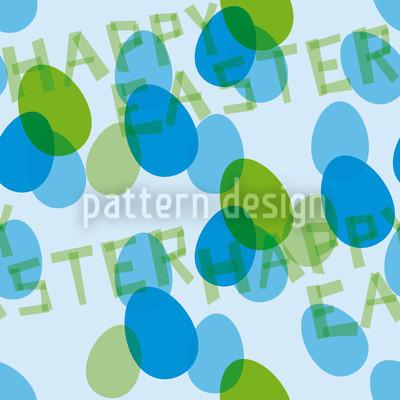 Happy Easter Blue Pattern Design