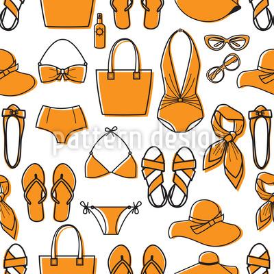 Bereit Für Den Strand Nahtloses Vektor Muster