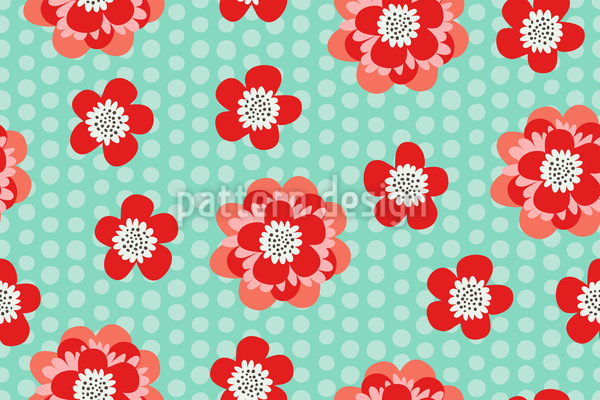 Flower Power And Dots Seamless Vector Pattern Design