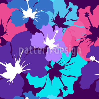 Hibiscus Explosion  Seamless Vector Pattern Design