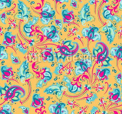 Floral Paisley Seamless Vector Pattern Design