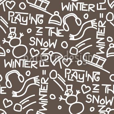 Spiele im Schnee Dekor Rapportmuster