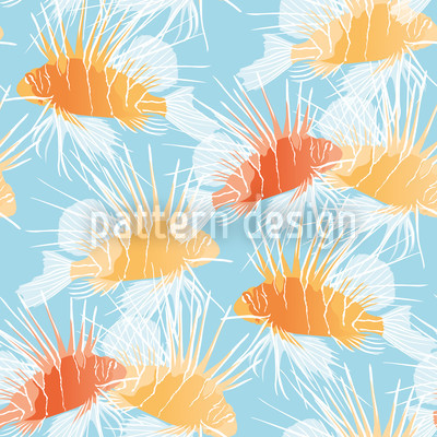Lionfishes Seamless Vector Pattern Design