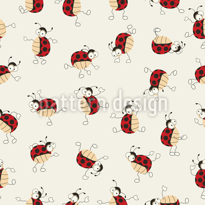 Cartoon Ladybugs Dancing Seamless Vector Pattern Design