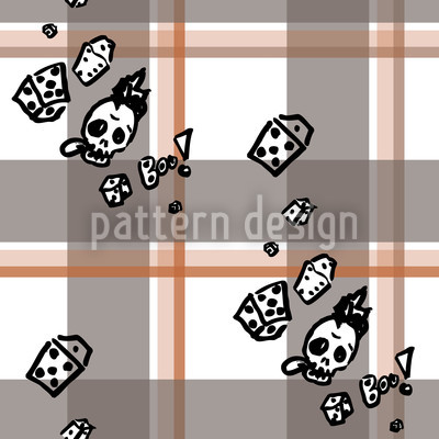 Checked Pattern With Skulls Pattern Design