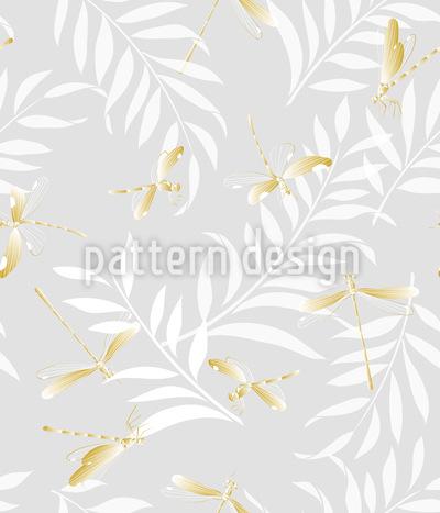 Golden Dragonflies Repeat Pattern