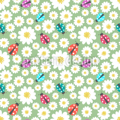 Ladybugs Love Flowers Repeating Pattern