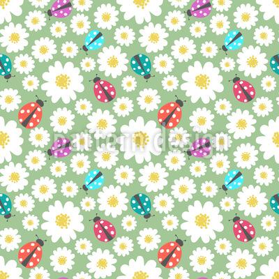 Marienkäfer Lieben Blumen Rapportiertes Design