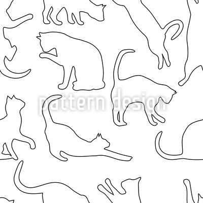 Playing Cats Seamless Vector Pattern