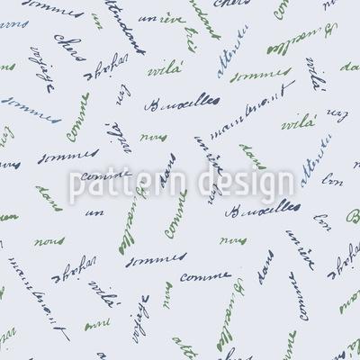 Französische Worte Nahtloses Muster