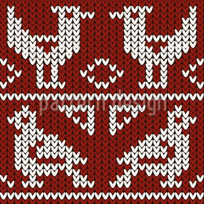 ニット鳥 シームレスなベクトルパターン設計