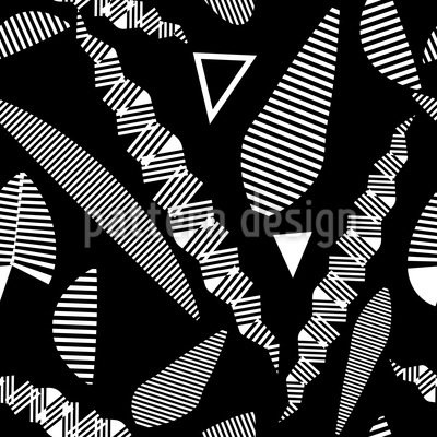 Stripe Fantasy Leaves Seamless Vector Pattern Design