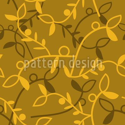 Climbing Foliage In Autumn Vector Ornament