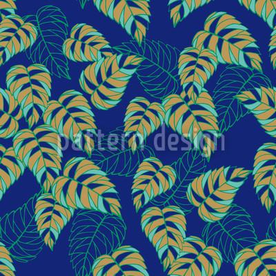 Березовый лист ночью Бесшовный дизайн векторных узоров