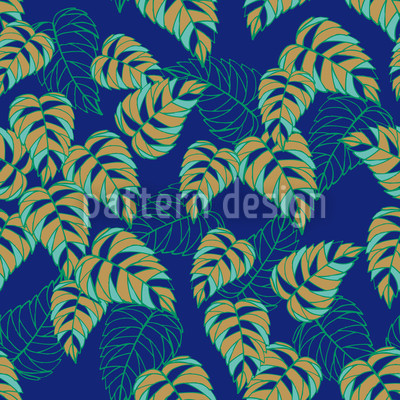 Birch Leaf At Night Seamless Vector Pattern Design