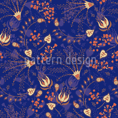 Natashas Enchanted Garden Blue Vector Pattern