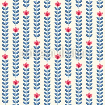 Reihen Von Blumen Nahtloses Vektor Muster