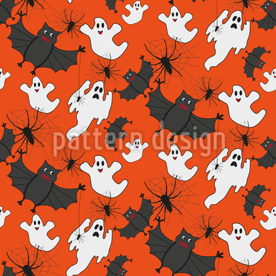 Spooky Creatures Seamless Vector Pattern Design
