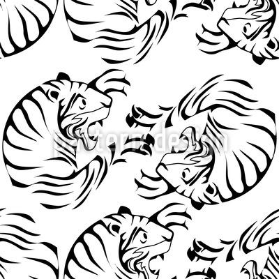 Tiger Schwarz Weiss Rapportiertes Design