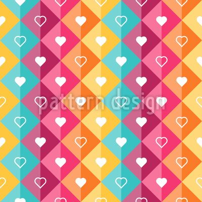 Hearts In Diamonds Seamless Vector Pattern Design