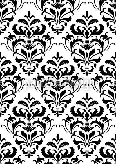 Black White Baroque Repeat Pattern