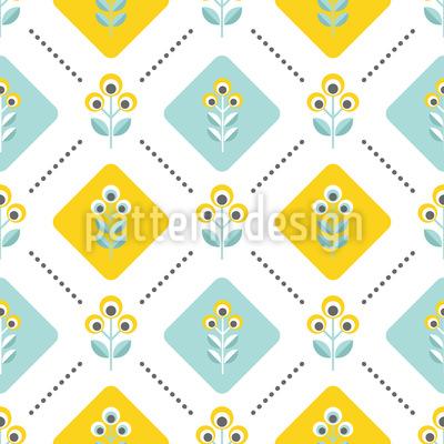 Retro Folk Blumen Nahtloses Muster