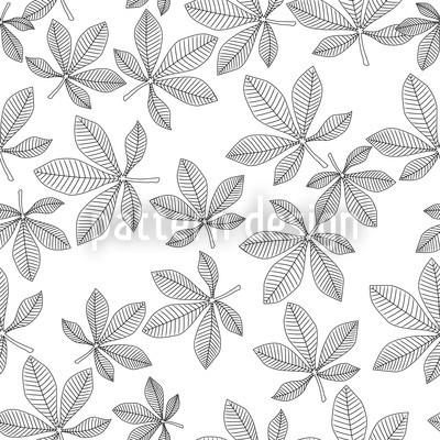 Chestnut Leaves Black and White Seamless Vector Pattern Design
