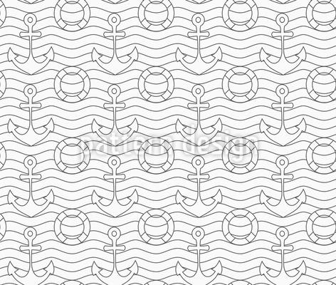 Anker und Rettungsring Vektor Muster