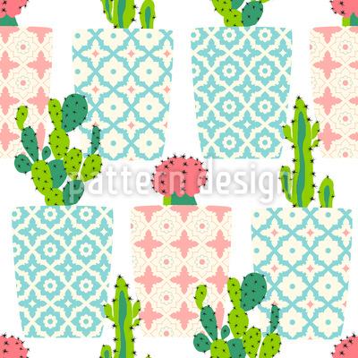 Kaktus Töpfe Nahtloses Vektormuster