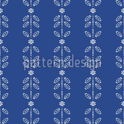 Blüten- Und Blätter Streifen Designmuster