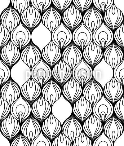 Afrikanische Fäden schwarz-weiß Rapportiertes Design