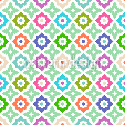 Arranged Flowers Repeating Pattern