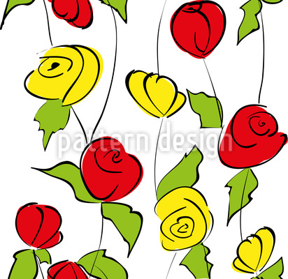 Rosas Tallo Estampado Vectorial Sin Costura