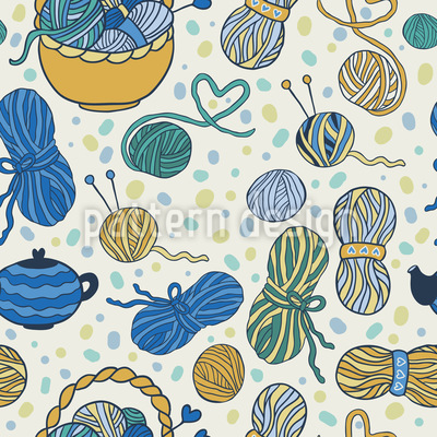 I Love Knitting Seamless Vector Pattern Design