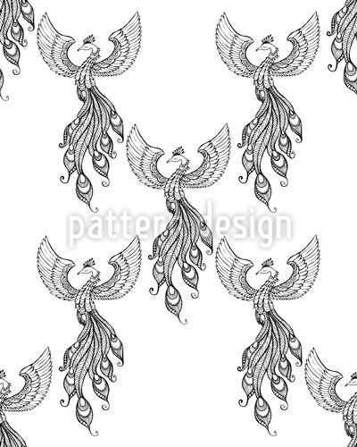 Rising Phoenix Seamless Vector Pattern Design