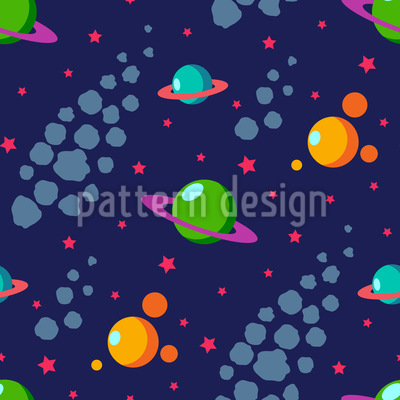 Solar System Seamless Vector Pattern Design