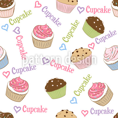 I Love Cupcakes Seamless Vector Pattern Design