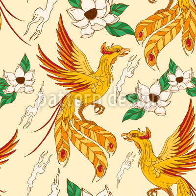 Phoenix And Lotus Pattern Design